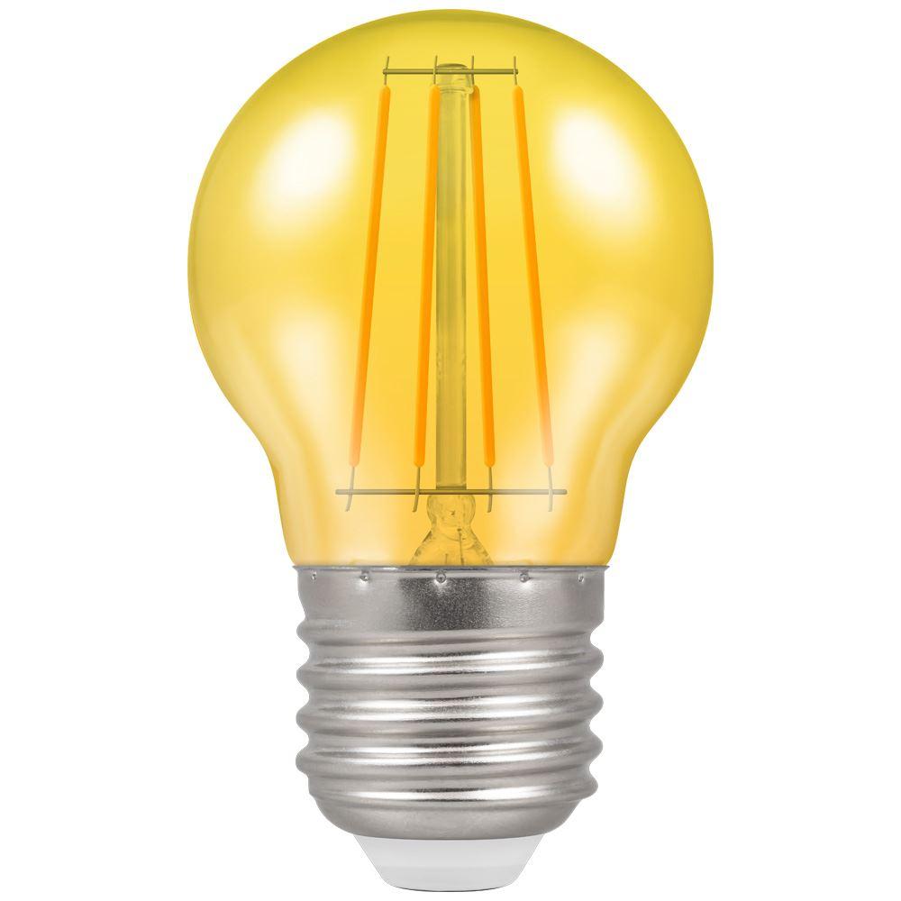 9851 led filament harlequin round 4w yellow es crompton lamps ltd