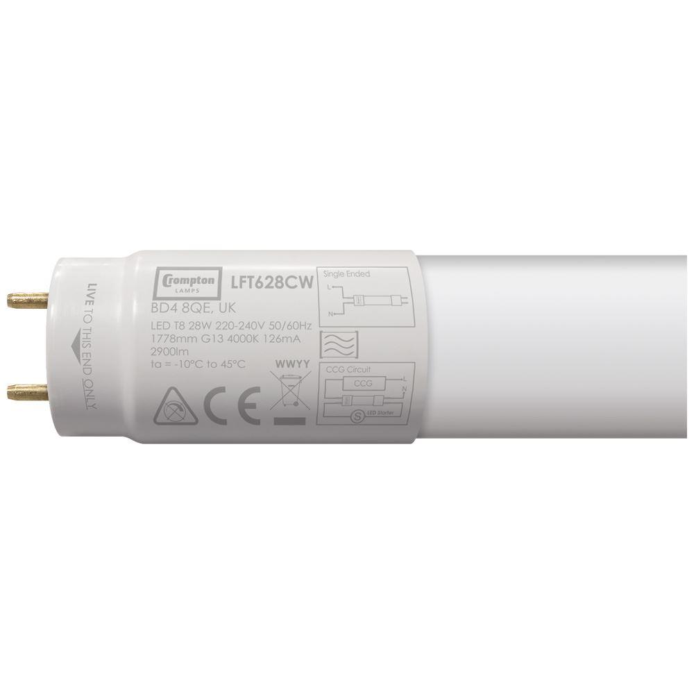 LFT628CW - LED T8 Full Glass Tube 6ft / 1778mm 28W 4000K G13