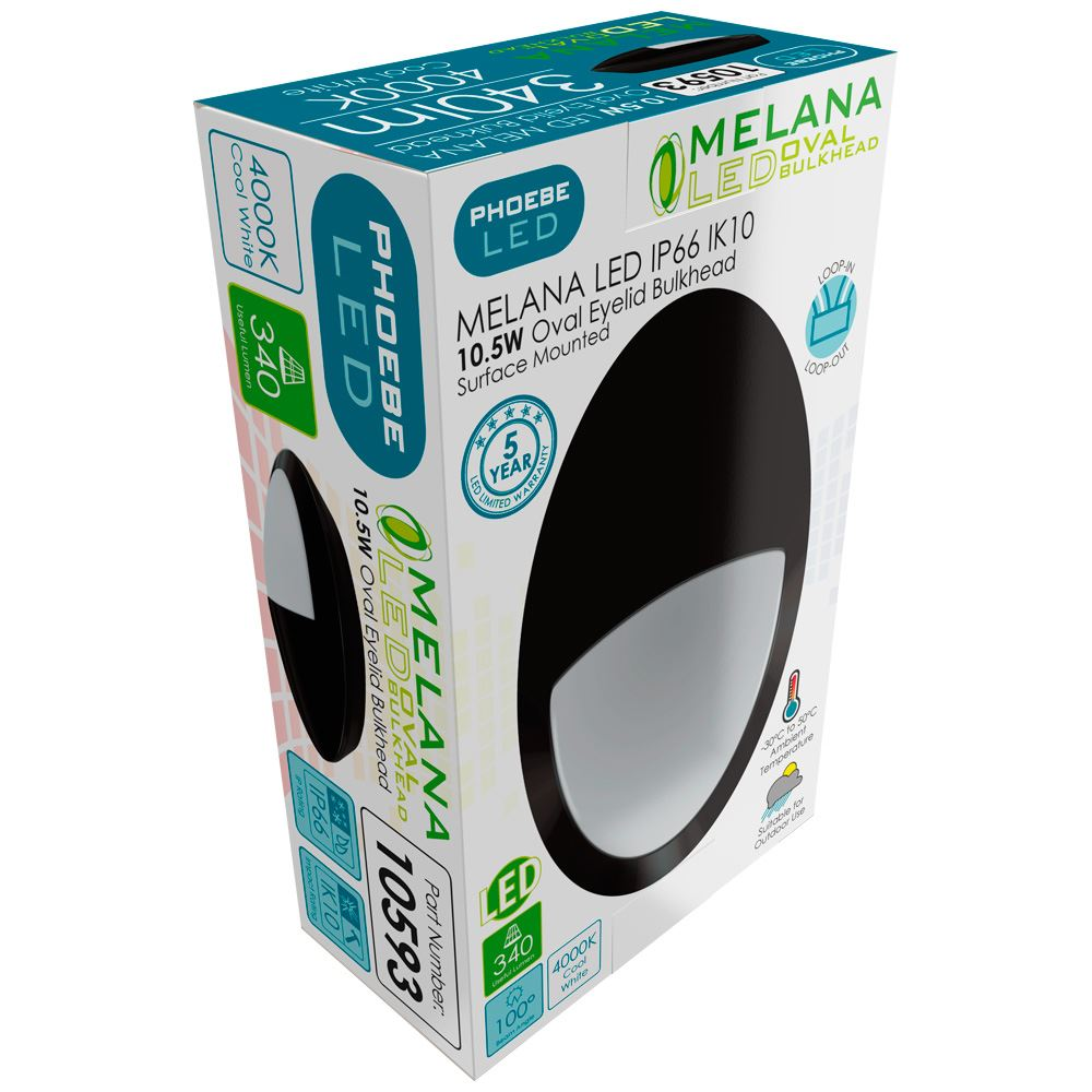 10593 - Melana LED Oval Eyelid Bulkhead 10.5W IP66 IK10 4000K Black
