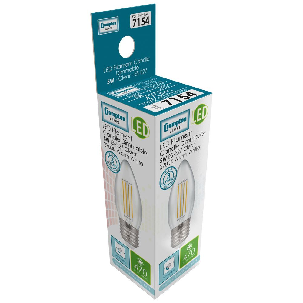7154 - LED Candle Filament Clear 5W Dimmable 2700K ES-E27