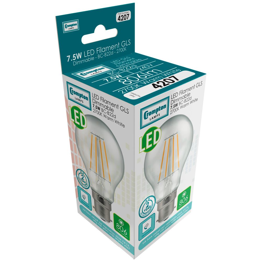 4207 - LED GLS Filament Clear 7.5W Dimmable 2700K BC-B22d