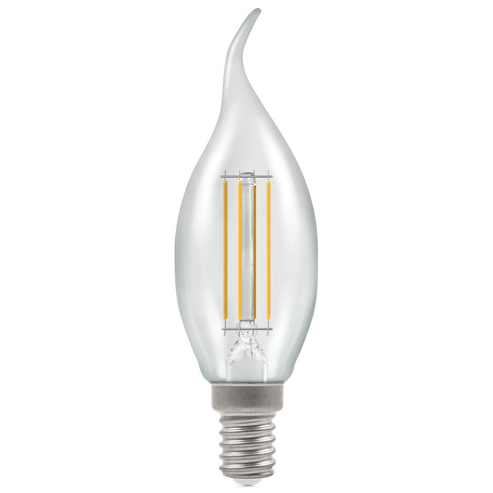 12165 - LED Bent Tip Candle Filament Clear 5W 2700K SES-E14